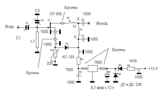 схема предусилителя - Уголок конструктора.