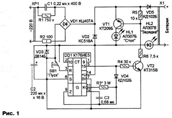 Принципиальная схема ЗУ показана на рис. 1. Для предохранения аккумуляторов от перезарядки обычное зарядное...