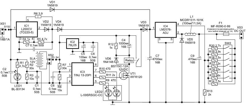 Он питается от аккумуляторной батареи SLA, поэтому работает...  Рис. 2. Электрическая принципиальная схема ИБП ВМ1061.